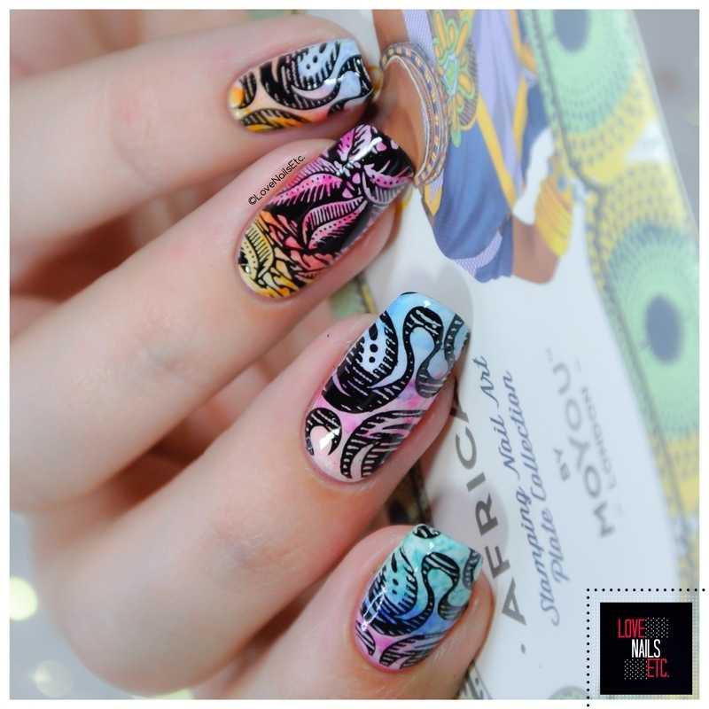 African Rainbow nail art by Love Nails Etc