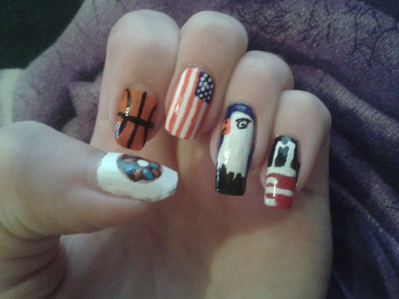 American stereotypes nail art by dark_nail_artist