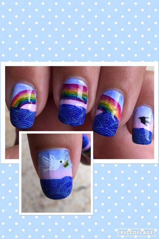 rainbow on the sea nail art by Idreaminpolish