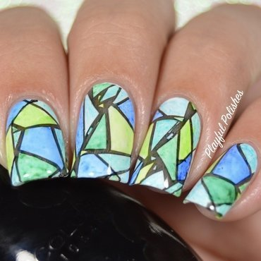 31DC2016 - Day 15, Delicate (Stained Glass) nail art by Playful Polishes
