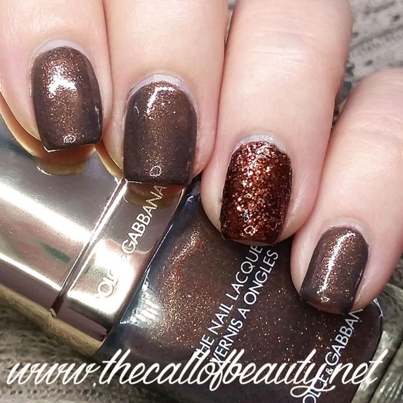 Bronze Glitter nail art by The Call of Beauty