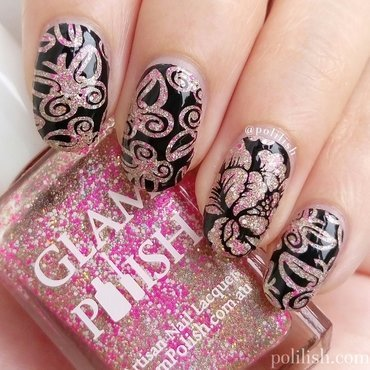 Glittery pink butterflies and flower nail art by polilish