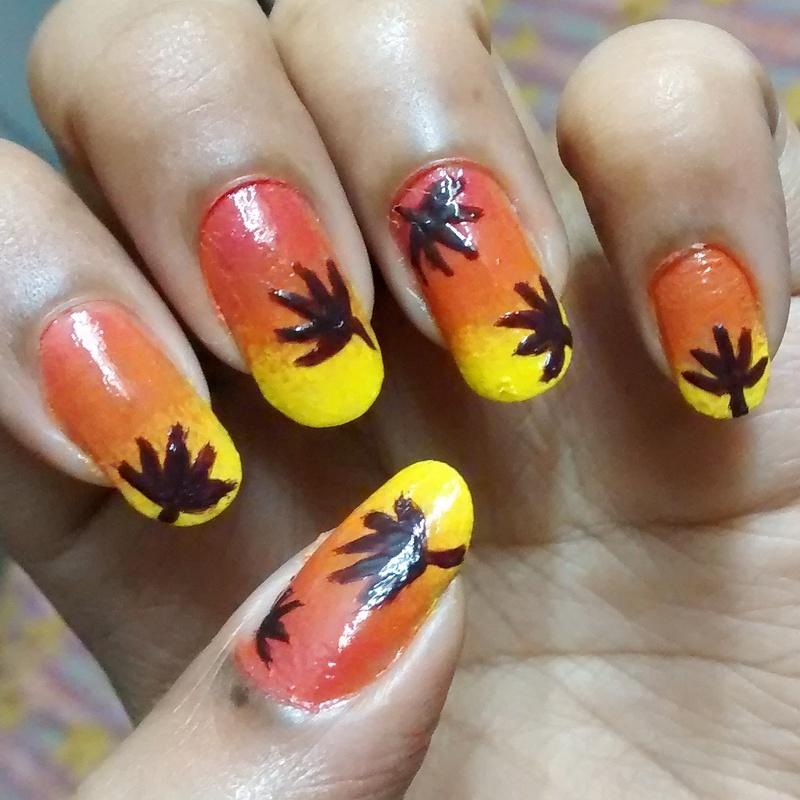 Diy Autumn Gradient Nail Art: Fall.. Gradient.. Leaves Nail Art By Sohini Sengupta