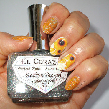 Sunflowers nail art by only real nails.