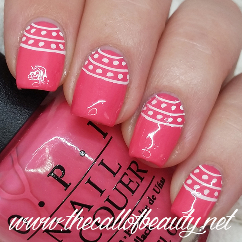 Pink Half Moons nail art by The Call of Beauty
