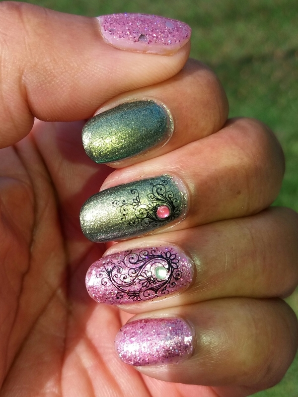 Green And Pink nail art by Jackie Bodick