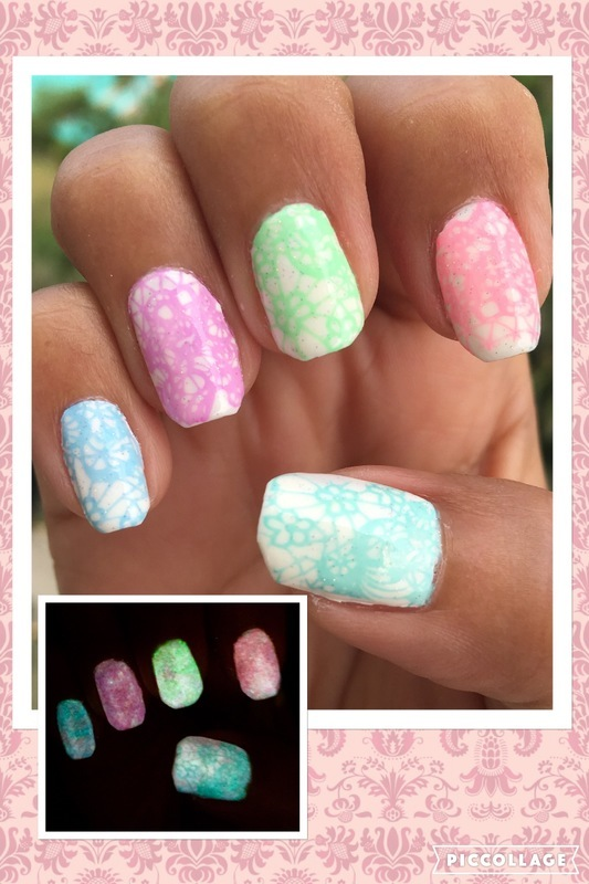 pastel lace in the dark nail art by Idreaminpolish