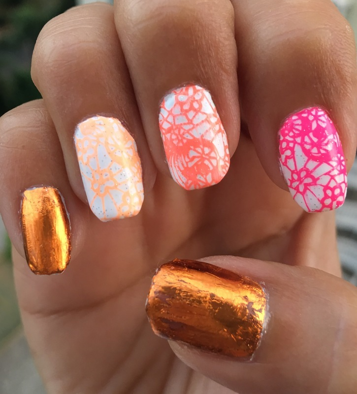 neon indian summer nail art by Idreaminpolish