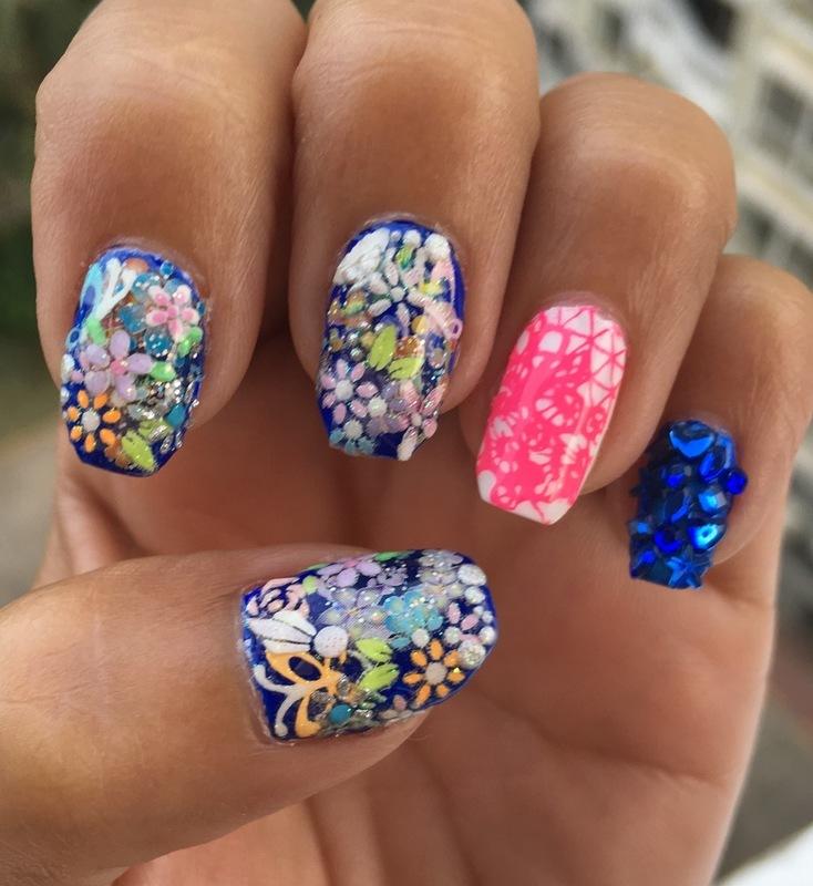 kimonos, lace & bling nail art by Idreaminpolish