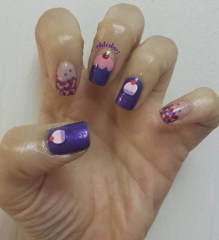 When the Daybreaks, Eat Cupcakes! nail art by chleda15
