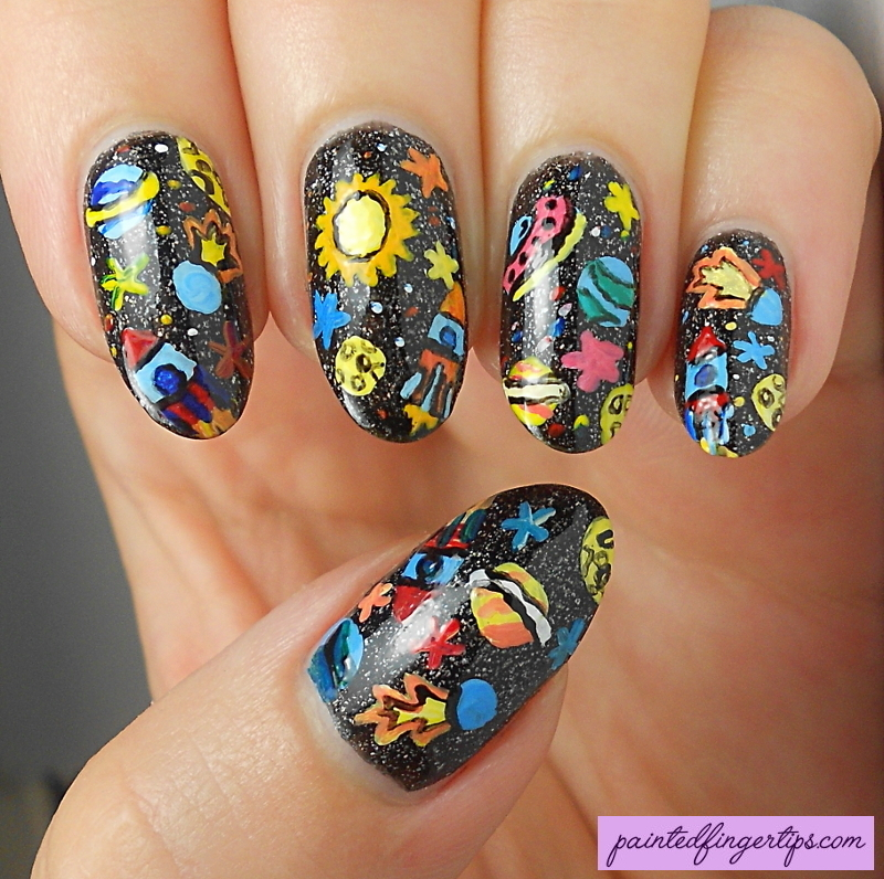 Freehand Galaxy Nails nail art by Kerry_Fingertips