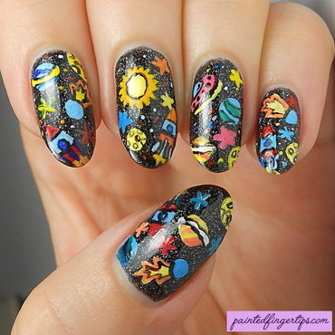 Galaxy rocket freehand nails thumb370f