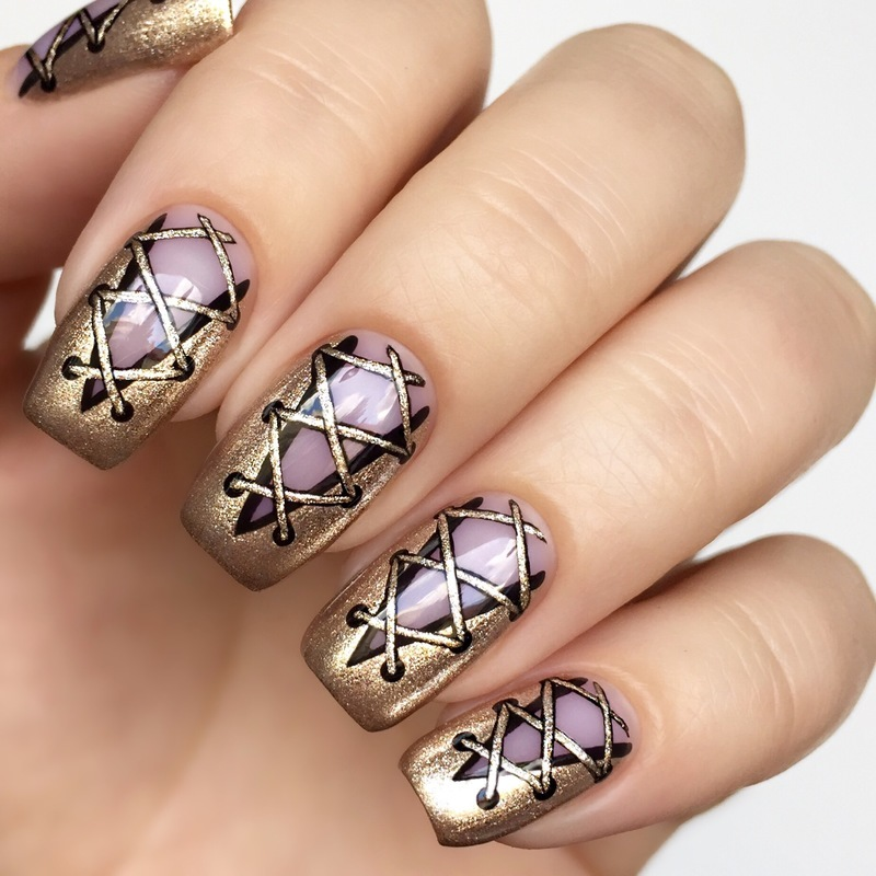 Laces nail art by Jenny Qvarfordt