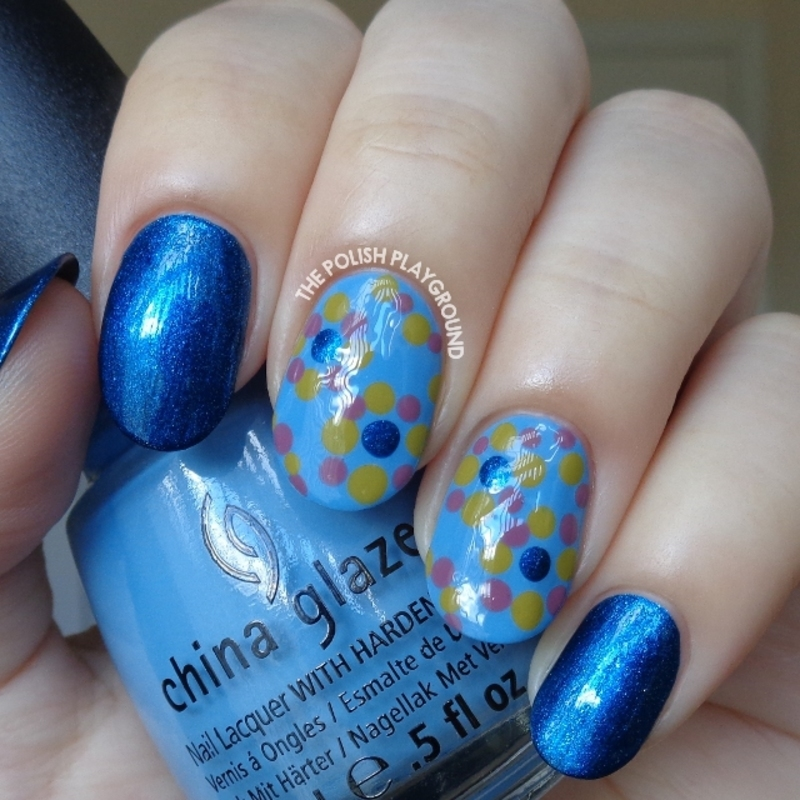 Blue with Muted Colored Dotting Circle Pattern nail art by Lisa N