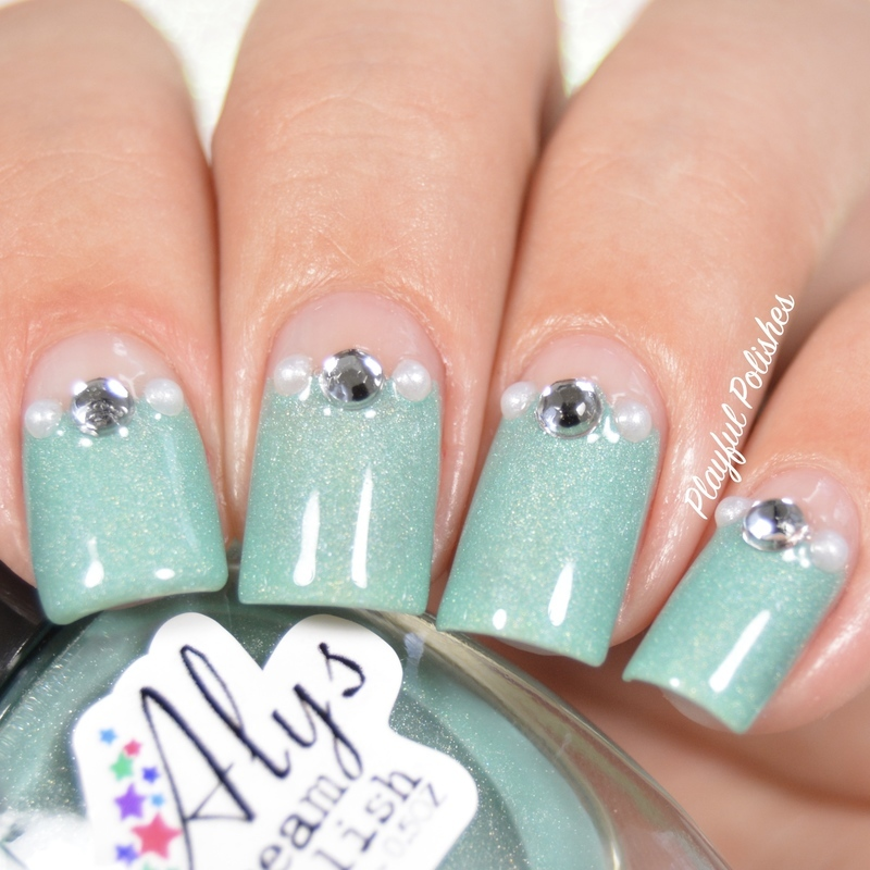 31DC2016 - Day 18, Half-moons nail art by Playful Polishes