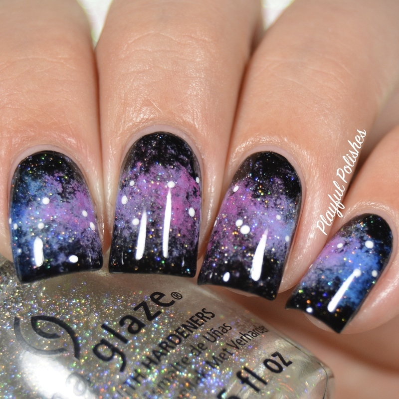 31DC2016 - Day 19, Galaxy Nails nail art by Playful Polishes