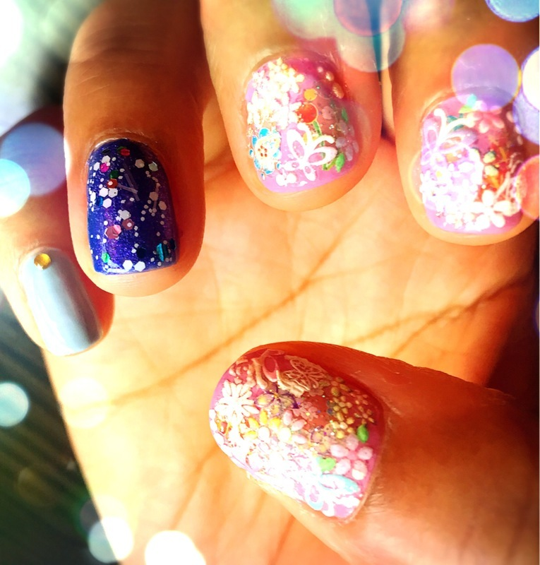 lavender kimono nail art by Idreaminpolish