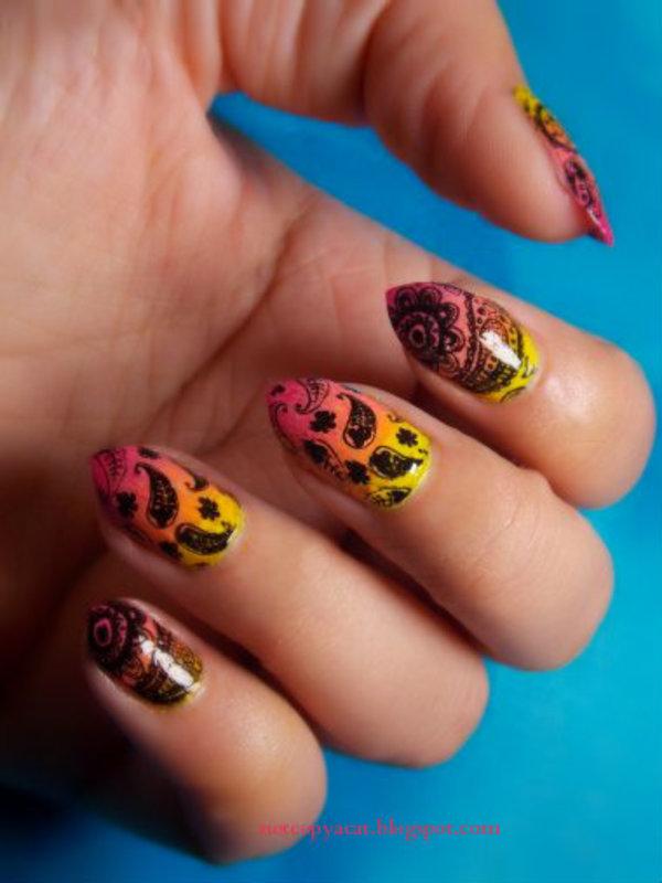 Sunset paisley nail art by notcopyacat