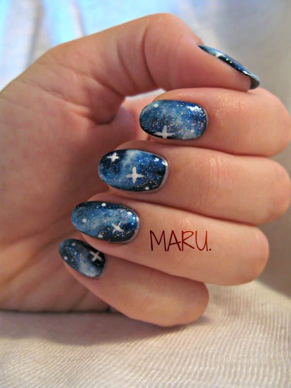 Blue Galaxy nail art by Martina