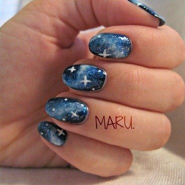 Blue Galaxy nail art by Martina