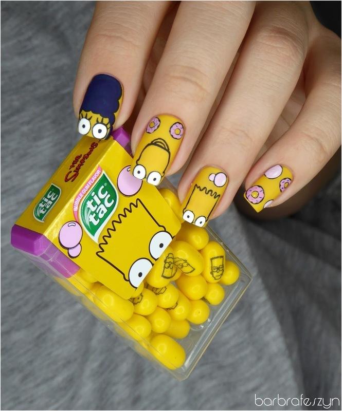 The Simpsons nails nail art by barbrafeszyn