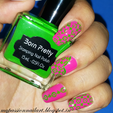 Green Pink Stamped Nails nail art by Aditi