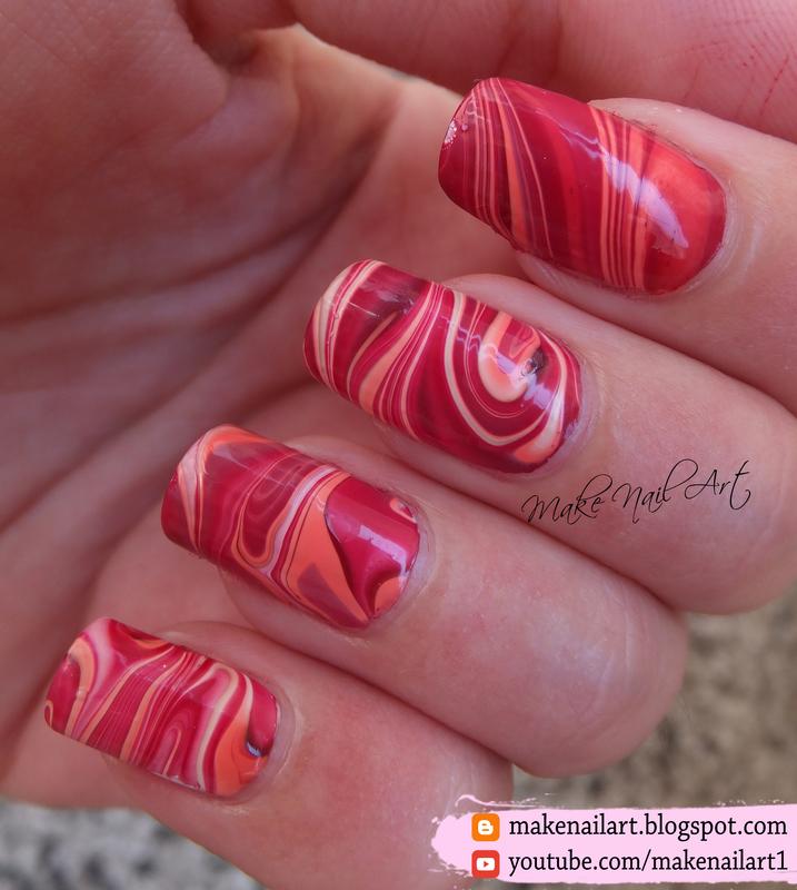 Autumn Inspired Water Marble Nail Art Design nail art by Make Nail Art