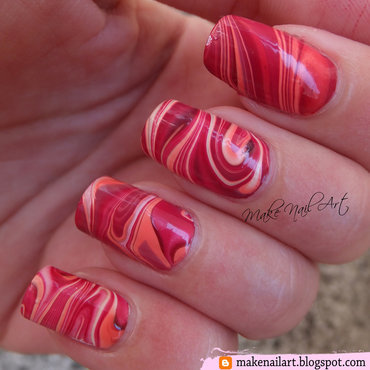 Autumn Inspired Water Marble Nail Art Design nail art by Make Nail Art