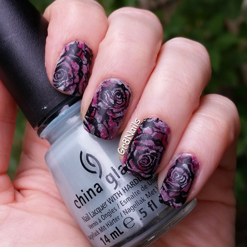Dark Roses nail art by Gr8Nails
