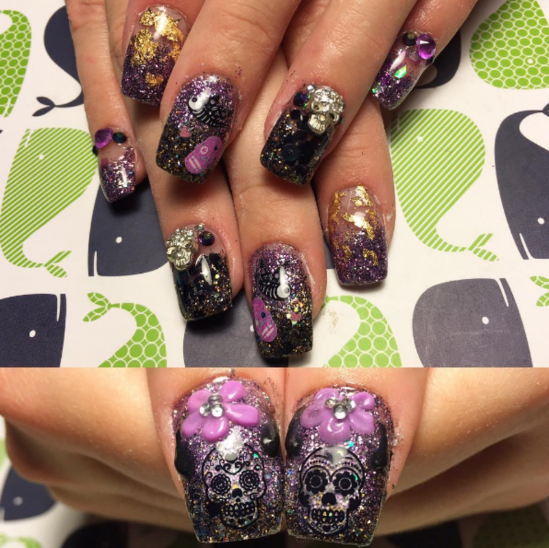 Black and Purple Sugar Skulls nail art by Kristen Lovett