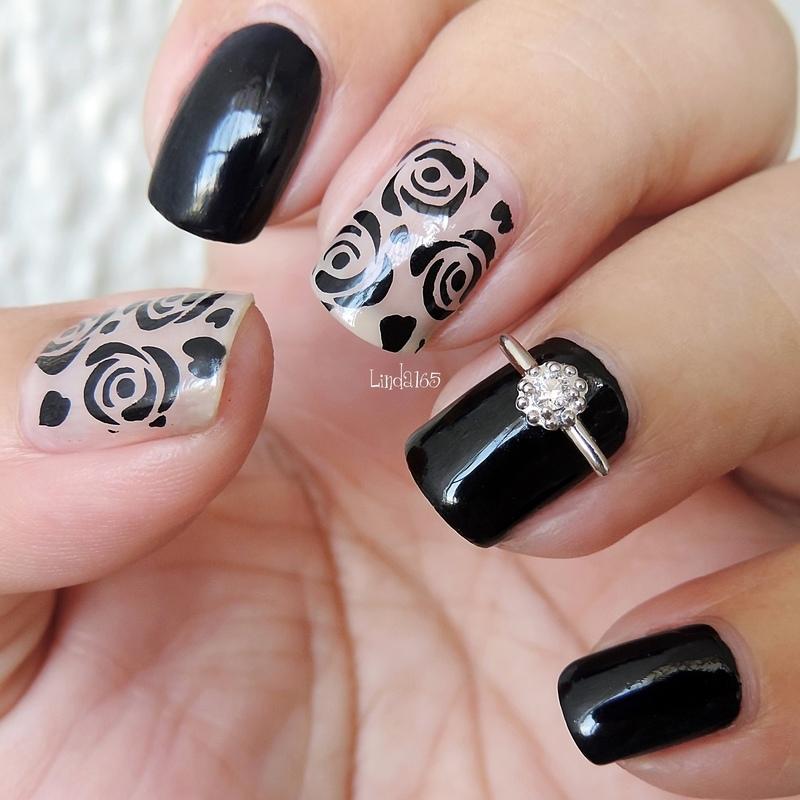 Classic Black Rose nail art by Iliana S.