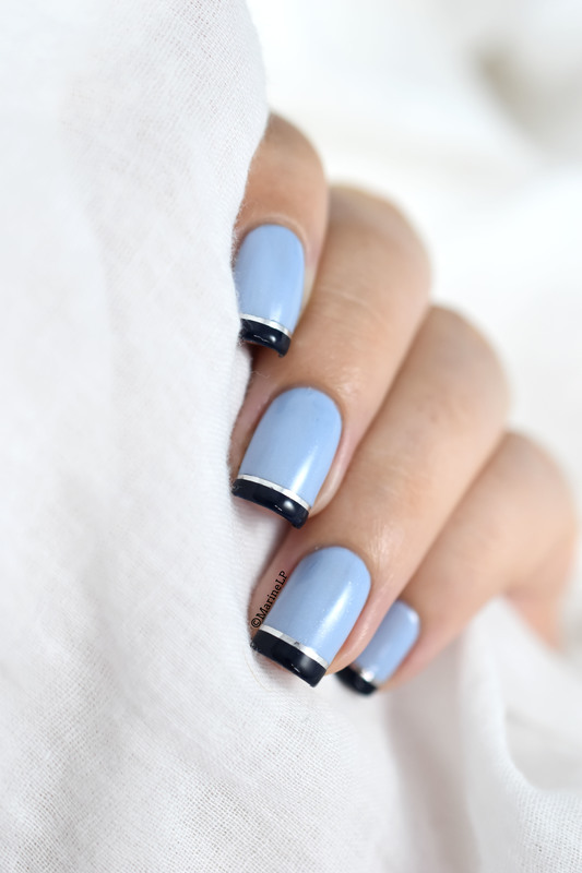 Blue French nail art by Marine Loves Polish