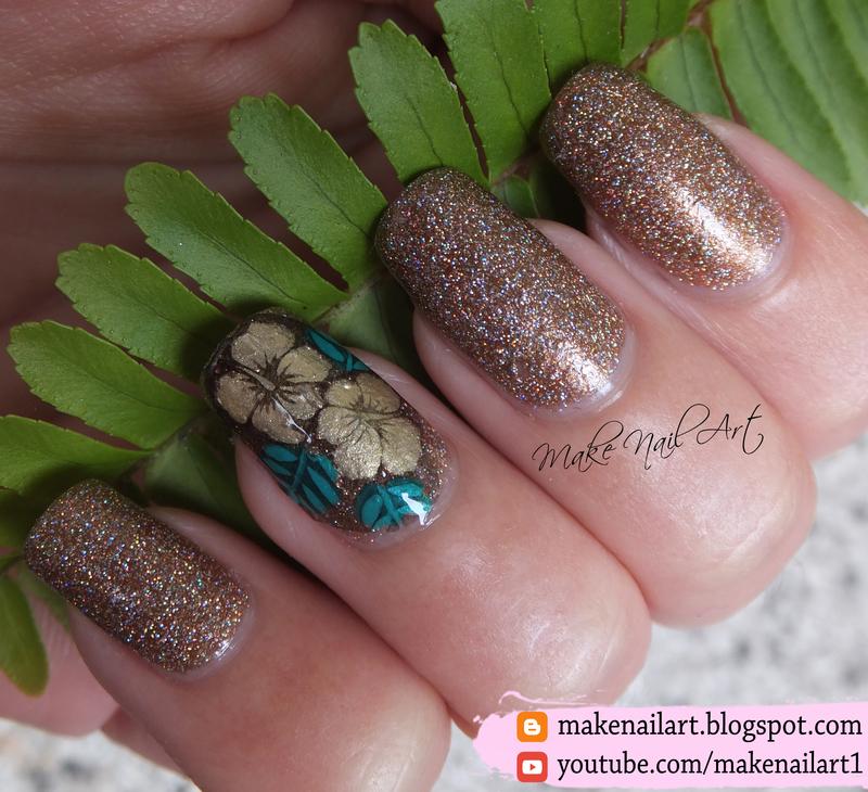 Golden Orchid Nail Art Design nail art by Make Nail Art