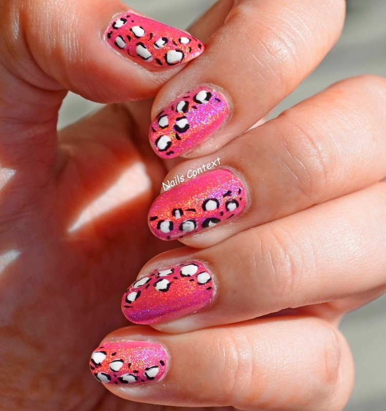 Holo Pink Leopard Print nail art by NailsContext