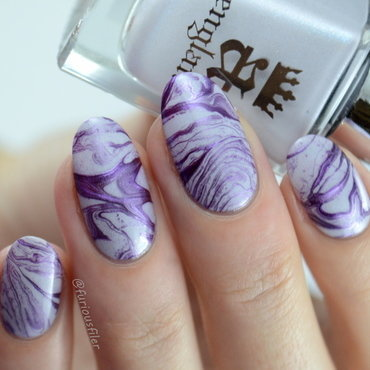 Stone inspired water marble  nail art by Furious Filer