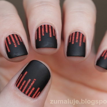 dots and stripes nail art by Zu