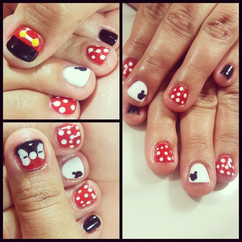 mickey and minnie nails nail art by tawshia81