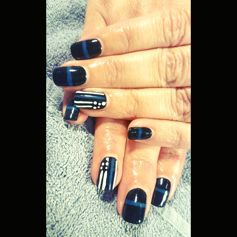 thin blue line nail art by tawshia81