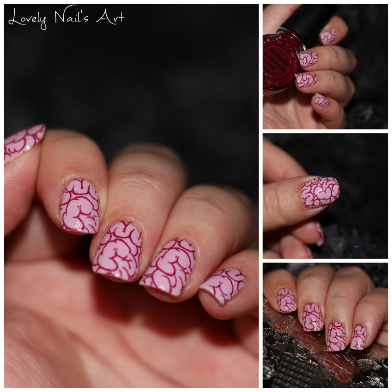 Nail art stamping cerveau  nail art by Lovely Nail's  Art