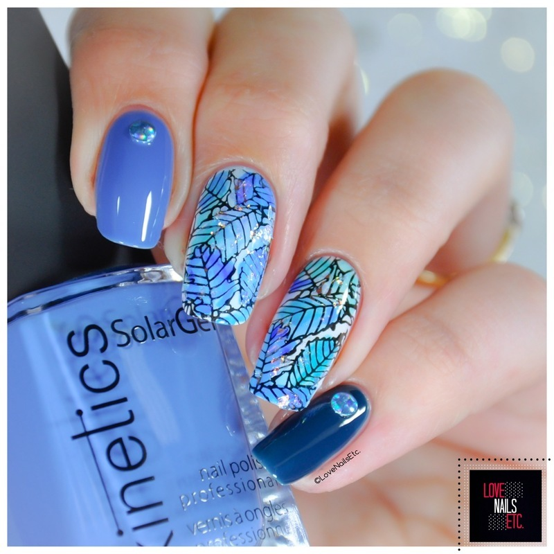 Blue leaves nail art by Love Nails Etc