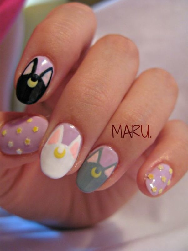 Cats from the Moon nail art by Martina