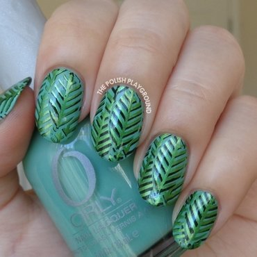 Layered Green Leaves Stamping nail art by Lisa N
