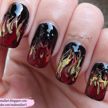 Fire Nail Art Design nail art by Make Nail Art