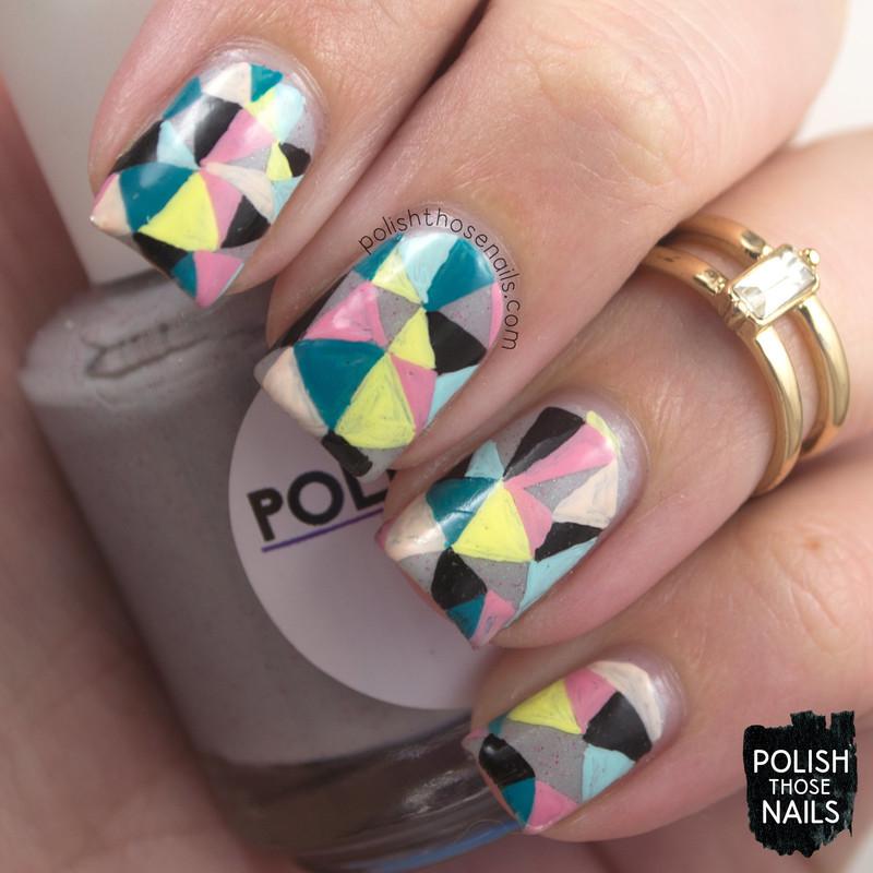 Festival Geometric Triangles nail art by Marisa  Cavanaugh