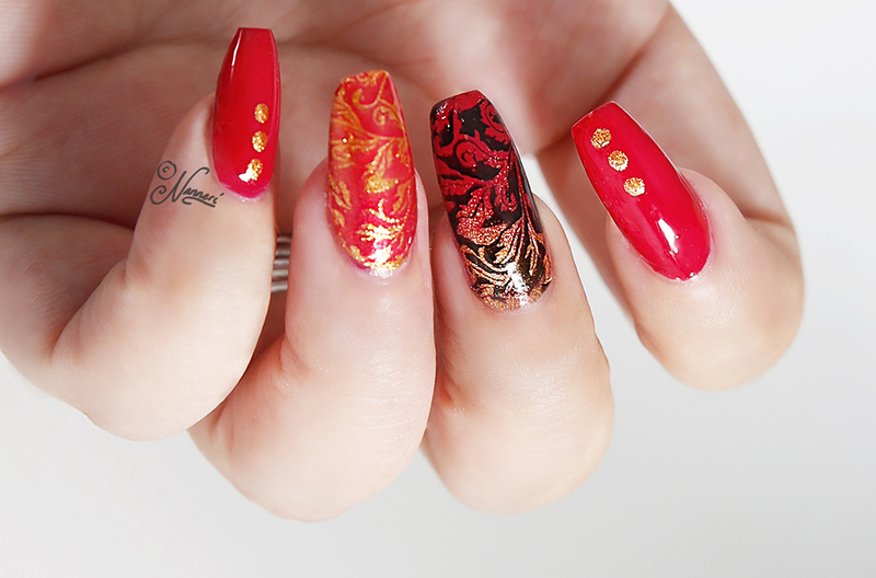 Red&gold nail art by Nanneri