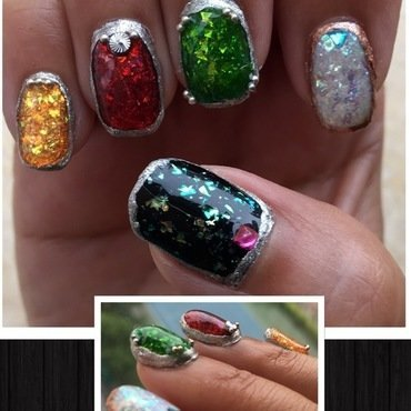 semiprecious stones nail art by Idreaminpolish