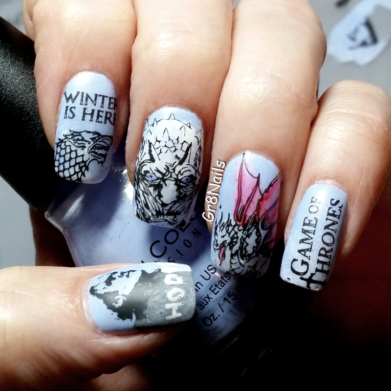 Game of Thrones nail art by Gr8Nails