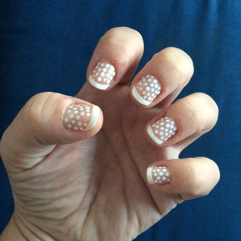 French tip white polka dots nail art by Rezingona