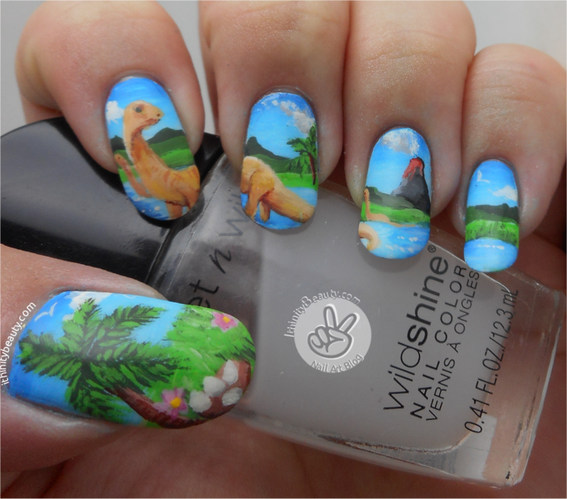 Freehand Brontosaurus Nail Art nail art by Ithfifi Williams