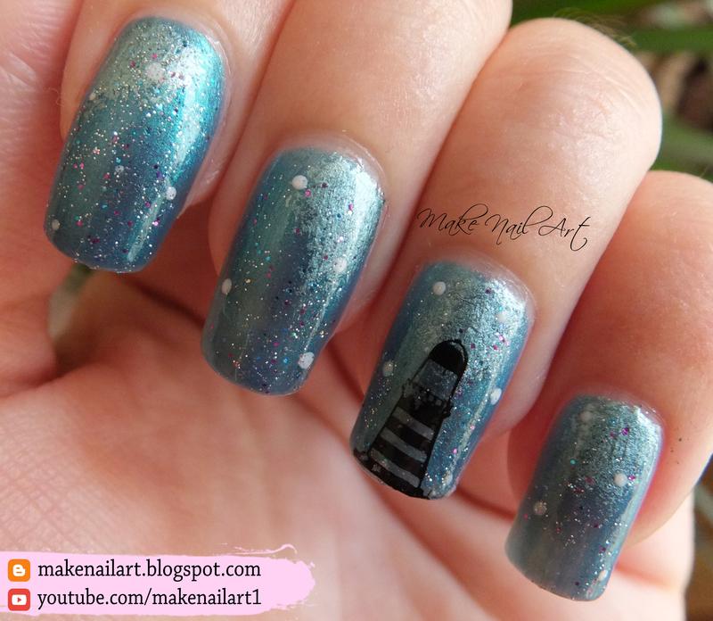 Lighthouse In The Night Nail Art Design nail art by Make Nail Art